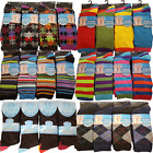 Mens Stripe Check Print Pattern Design Cotton Lycra Work Wear Everyday Socks Lot