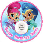 Shimmer and Shine circular edible icing personalised birthday cake topper