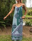 Ladies cool comfortable elastic mod  maxi dress in blue, red or green.