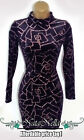 Black+Sparkly+Glitzy+Velvet+Bodycon+Velour+Party+Dress+Size+6+8+10+12
