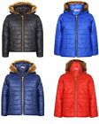 New Girls Kids Chidren Fur Hooded Hoddie Padded Puffer Jacket Red Age 7-13 Years