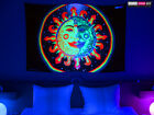 BACKDROP UV Black Light Fluorescent Glow Psychedelic Art Banner Tapestry Deco