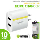 Universal Fast 2.1 Amp Dual USB Port Home Wall Travel Charger for Phone / Tablet
