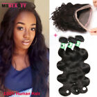 Brazilian Body Wave Virgin Human Hair 3Bundles With 360 Lace Frontal Closure