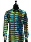 Mens Jade Green Yellow Black Geometric Retro Party ButtonUp Casual Trendy Shirt