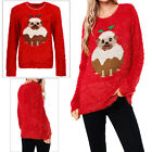 Heart And Soul Womens Novelty Pug In Christmas Pudding Red Jumper Festive Top