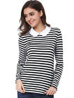 Allegra K Women's Peter Pan Collar Bar Long Sleeve Striped Top
