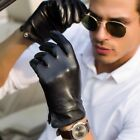man real luxury lamb skin side button Italy nappa  gloves black