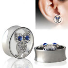 1 Pair Owl Rhinestone Stainless Steel Ear Plug Expander Piercing Tunnel Unique