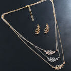 Women Multilayer Metal Leaf Feather Pendant Necklace Earrings Jewelry Set Unique