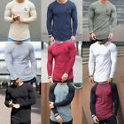 New DSRY Men's Slim Muscle Fit Gym Designer Plain Long Sleeve T Shirt Curved Hem