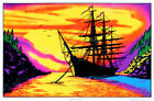 Sunset Bay Ship Flocked Blacklight Art Silk Poster 12x18 24x36 24x43