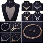 Women Shiny Crystal Bib Statement Necklace Earrings Set Charm Party Jewelry New
