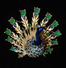 Vintag BOUCHER Rhinestone and Faux Jeweled BLUE Peacock Brooch -Signed/Numbered