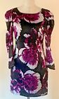 Anthroplogie Liefsdottir black and purple 100% silk shift dress size 4