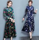 S-4XL Womens Floral Long Sleeve Stand Collar Retro Chinese Qipa Drss Maxi I744