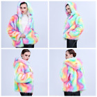 Hot Adult Women Faux Fur Hood Coat Outwear Rainbow Parka Jacket Warm Overcoat