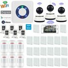 W77 APP WiFi Cloud Wireless House Home Security Burglar Alarm System+3 IP Camera