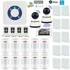 W76 APP WiFi Cloud Wireless House Home Security Burglar Alarm System+2 IP Camera