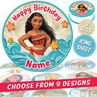 Moana Cake Topper, Circle, Personalised, Printed on Icing, 9 Designs, 3 Sizes
