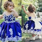 Royal Blue Newborn Baby Christening Gown Infant Lace Baptism Dress Ablution Boho