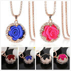 New Women Crystal Rhinestone Rose Flower Pendant Chain Necklace For Sweater