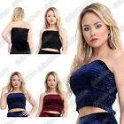 New Ladies Crushed Velvet Velour Strapless Bandeau Boob Tube Sheering Crop Top