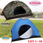 Camping Waterproof Outdoor 3-4 Person 4 Season Folding Tent Hiking Camo/Blue LOT