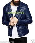 New Jacket Men's Leather Navy Blue Slim Fit Motorcycle Designer Real Lambskin 97
