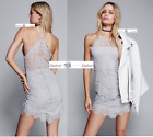FREE PEOPLE LARGE She Got It Mini Lace Dress DUSK - GREY New Tags