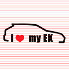 I Love My EK Decal Sticker JDM Heart Tuner Honda Civic Hatch Si EX DX LX HX B se