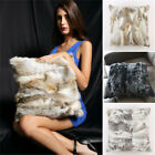 100% Real Rabbit Fur Protector Pillowcase Cushion Cover Office Decor Chic Warm image