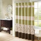"""Luxury Green & Brown Floral Embroidered Fabric Shower Curtain - 72"""" x 72"""""""