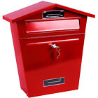 NEW LARGE OUTDOOR STEEL POST BOX POSTBOX LOCKABLE LETTER MAIL WALL MOUNTED KEYS