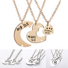 sister necklace silver - 3Pcs Silver Couple Necklace Sister Matching Heart Necklaces for Best Friends Hor