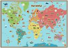 KIDS ANIMAL MAP OF THE WORLD EDUCATIONAL KAM02 A3 A4 POSTER BUY2 GET 1 FREE