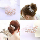 Ladies Crystal Flower Wedding Bridal Hair Comb Hairpin Clips Fashion Accessories