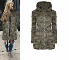 Fashion Woman Hooded Casual Long Sleeve Camouflage Green Coat Jacket Outwear