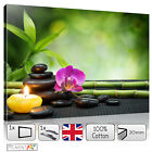 ZEN CALMING Orchid Yoga Stones Bamboo Candle - Picture Wall Art Canvas 50x30cm
