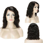 Hot Peruvian Human Hair Lace Front Wigs Medium Bob Natural Straight Hand Tied Xm