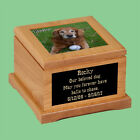 Large Personalize Wood Cremation Pet Urn With Your Pet Photo  Text