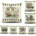 Home Decor Ornate HAPPY CAMPERS Sofa Waist Throw Cushion Cover Pillow Case KM image