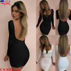 US Women's Bandage Bodycon Long Sleeve Club Party Cocktail Mini Dress Backless