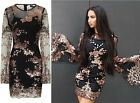 BLACK & ROSE GOLD BATWING FLORAL SEQUIN KAFTAN MIDI PARTY HOLIDAY DRESS 6-14