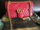 Authentic Gucci Marmont Chain Shoulder Bag Quilted Red Leather Handbag Small
