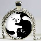 Handmade Vintage Two Yin Yang Cats Necklace Pendant
