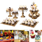 White Gold Crystal Cake Stand Cupcake Wedding Dessert Candy Home Bar Party Décor
