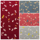 100% Cotton Fabric Metres Curtain Craft Strip Patchwork Sewing Vintage Dragonfly