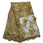 high qualtiy French lace fabric in 3D flower embroidery, 5 yards african lace