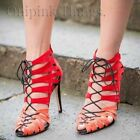 ZARA NEW S/S. RED ORANGE HIGH HEEL STRAPPY LACE UP ANKLE BOOTS SANDALS.